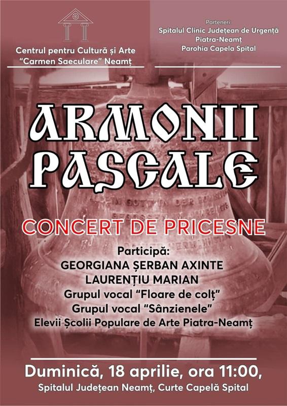 Armonii Pascale – eveniment cultural în curtea Spitalului Județean Neamț